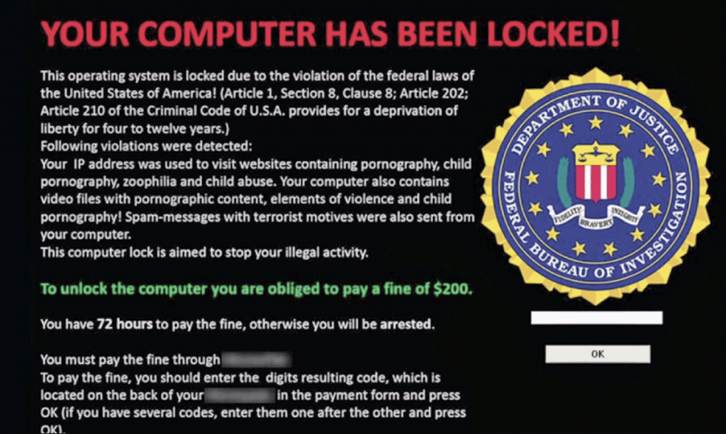 Przykład ransomware