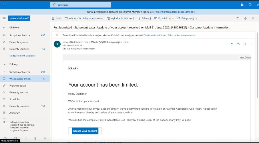 przykład phishingu
